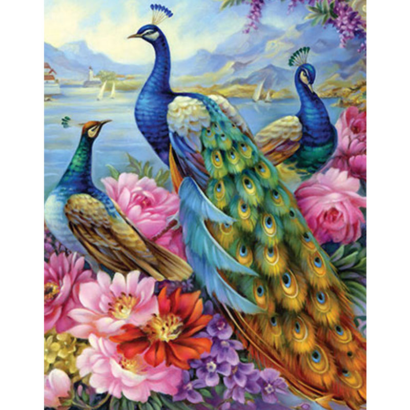 Full Square Drill Diamond Embroidery Peacock 5D DIY Diamond Painting Animals Cross Stitch Mosaic Picture of Rhinestones Decor title=
