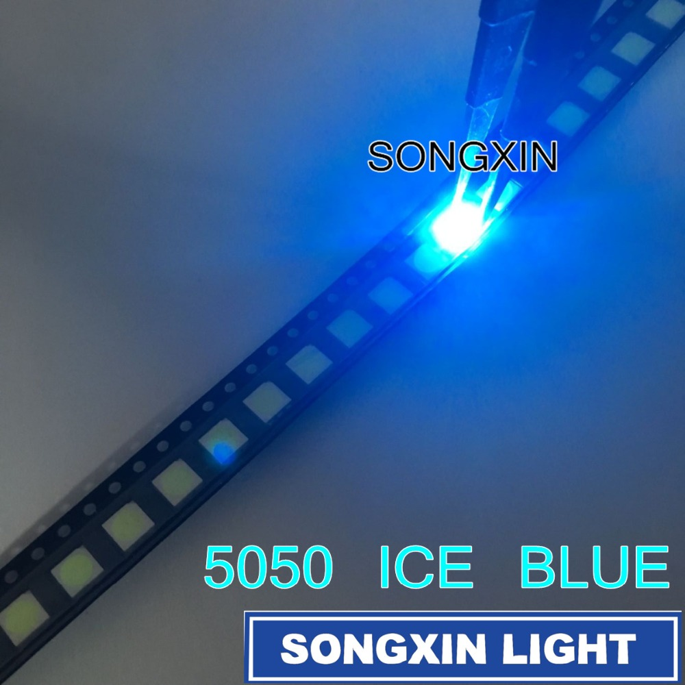 Active Components 20pcs 5050 Ice Blue Smd Led Plcc-6 Smd 5050 Led Diode Ice Blue Water Clear Blue Led 5.0*5.0*1.9mm Ideal Gift For All Occasions