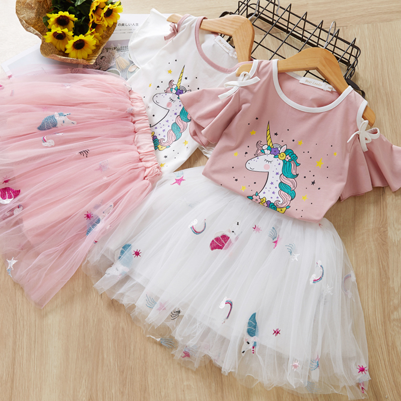 Menoea Girls Dress Cute Cartoon Pattern Kids Clothes Short Sleeve T-Shirt + Ball Gown Dress Suit 2Pcs For 2-7Y Baby Girl Clothes