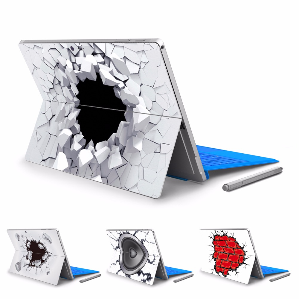 GOOYIYO - For Micro Surface Pro 4 5 Vinyl Back Full Decal Tablet Sticker 3D Effect Painting Print Skin Cover With Logo Cut Out