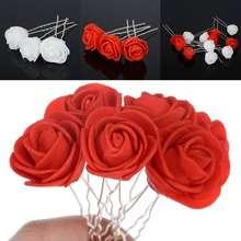 12 шт/лот модные свадебные шпильки для волос с цветком розы