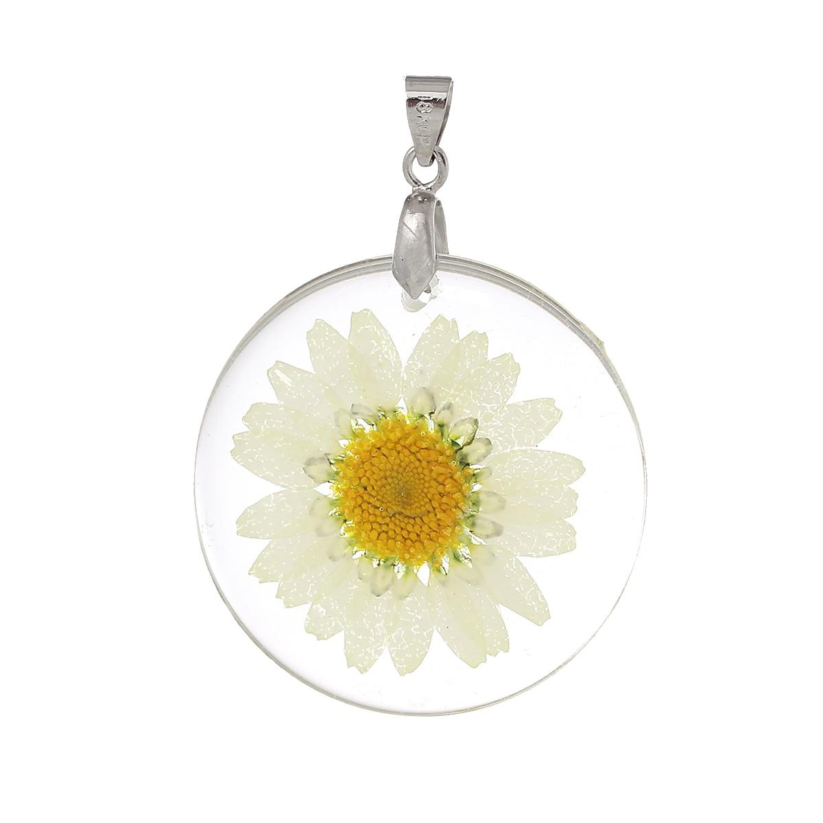 """DoreenBeads gyanta medálok, Kerek átlátszó sárga valódi virág, 44 mm (1 6/8 """") x 32 mm (1 2/8""""), 3 pc"""