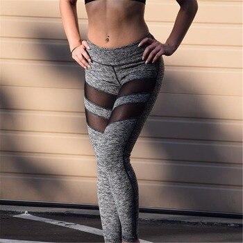 Women Workout Leggings Black Fitness Womens Clothing Contrast Mesh Color Block Two Tone Mesh Insert Leggings Skinny Fitness 2018 mesh trim color block gym leggings