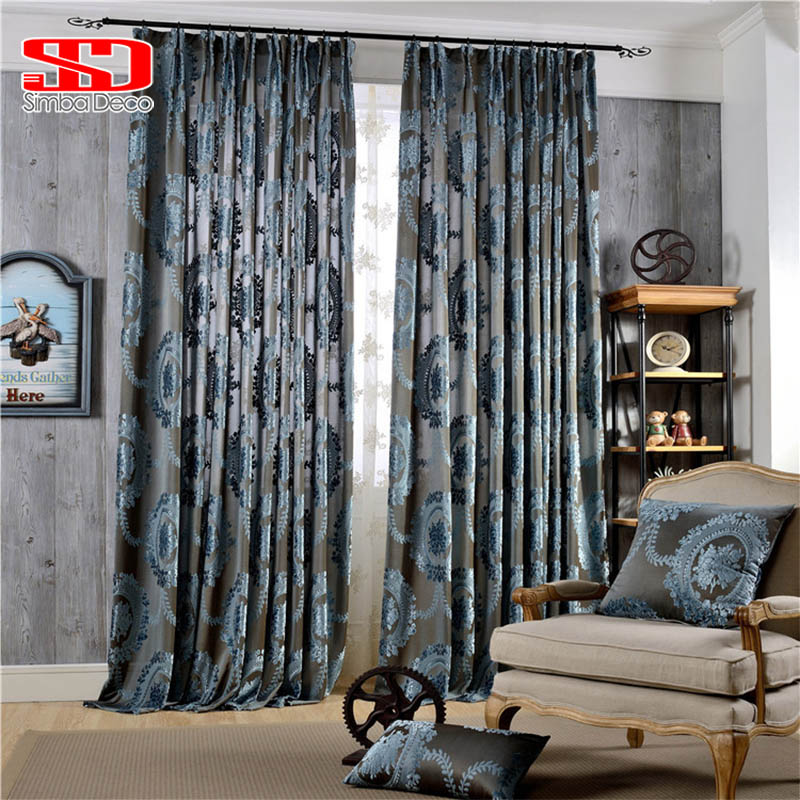 European Damask Flocked Jacquard Curtains For Living Room Luxury Drapes Shiny Velvet Curtains For Bedroom Window Decoration