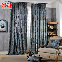 European Damask Flocked Jacquard Curtains for Living Room Luxury Drapes Window Decoration Classical Shiny Velvet Bedroom Panel(China)