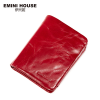 EMINI HOUSE Vintage Oil Wax Genuine Leather Wallet Women Luxury Brand Coin Purse Mini Travel Wallet