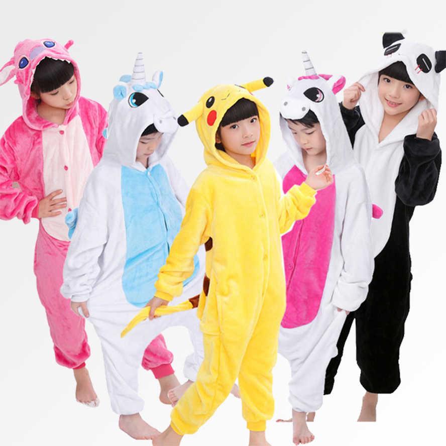 Малыш Единорог фланель для мальчиков и девочек пижамы с капюшоном комбинезон  без обуви для 5 4 43cf334413c7f