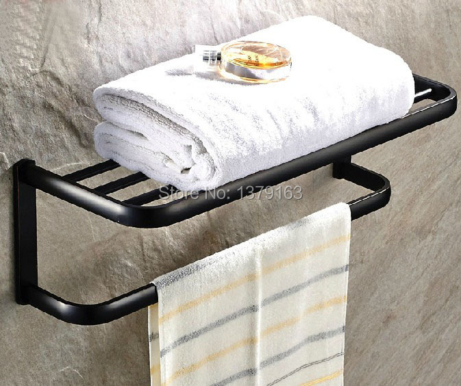 ФОТО Brass Bathroom Fitting Black Oil Rubbed Bronze Wall Mounted Large Towel Holder bar Rack Rail Shelf aba190