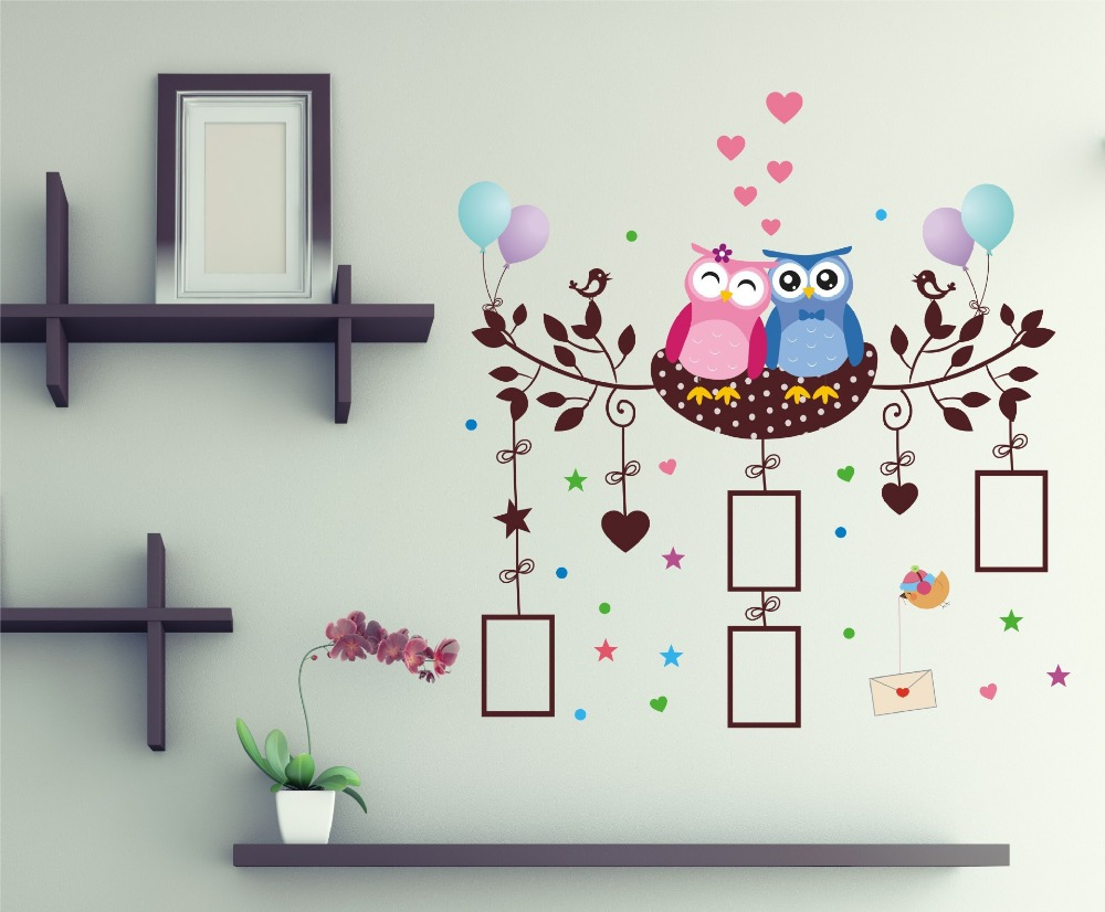 In stock owls lovers wall stickers birds nest wallpaper children in stock owls lovers wall stickers birds nest wallpaper children bedroom decoration picture frame wall decals in wall stickers from home garden on amipublicfo Image collections