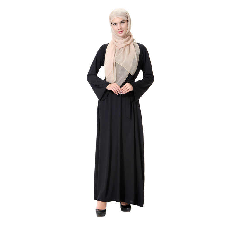 ... New Arab abaya dubai turkish middle east simple hijab dress knitted  black robe femme muslim dresses ... ef8e3b9cdd1a