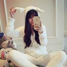 Japanese Pique winter sweater Womens rabbit ears hooded Pajamas Pyjamas Set Sleepwear Pijama Pajamas Suit loungewear