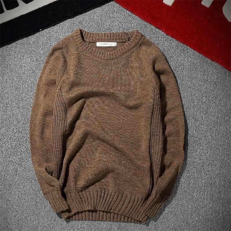 MRMT 2018 бренд Для мужчин свитер локоть патч-корд ретро сплошной Цвет пуловер с круглым вырезом свитер для мужской свитер