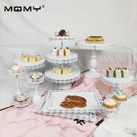 Wholesale 11 Pcs Set Wedding Gold White Pink Tray Metal 3 Tier Plate Fruit Crystal Vintage Round Birthday Wedding Cake Stand