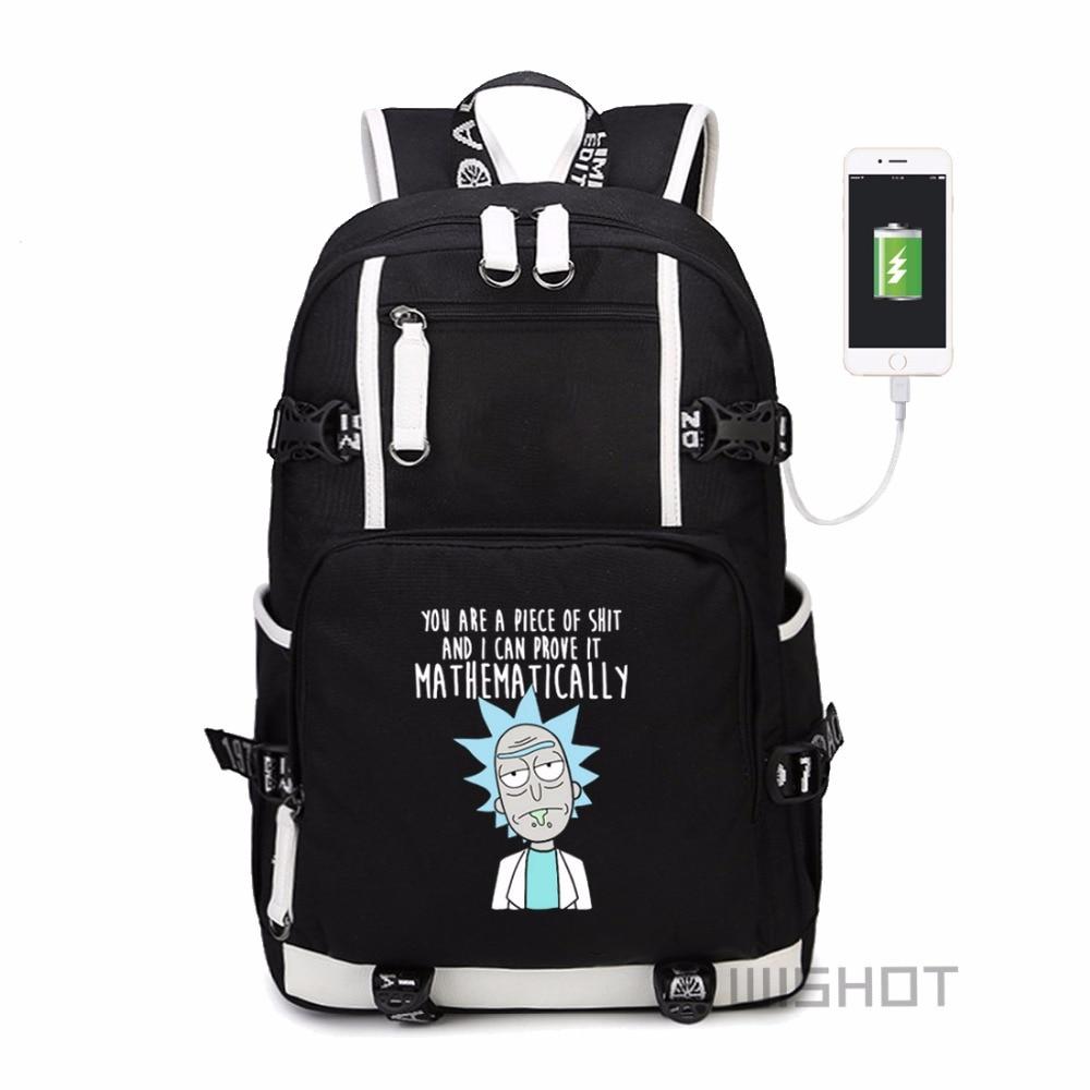 Wishot Rick And Morty  Multifunction Usb Charging Backpack  Men Women's Travel Shoulder Laptop Bag Bookbag