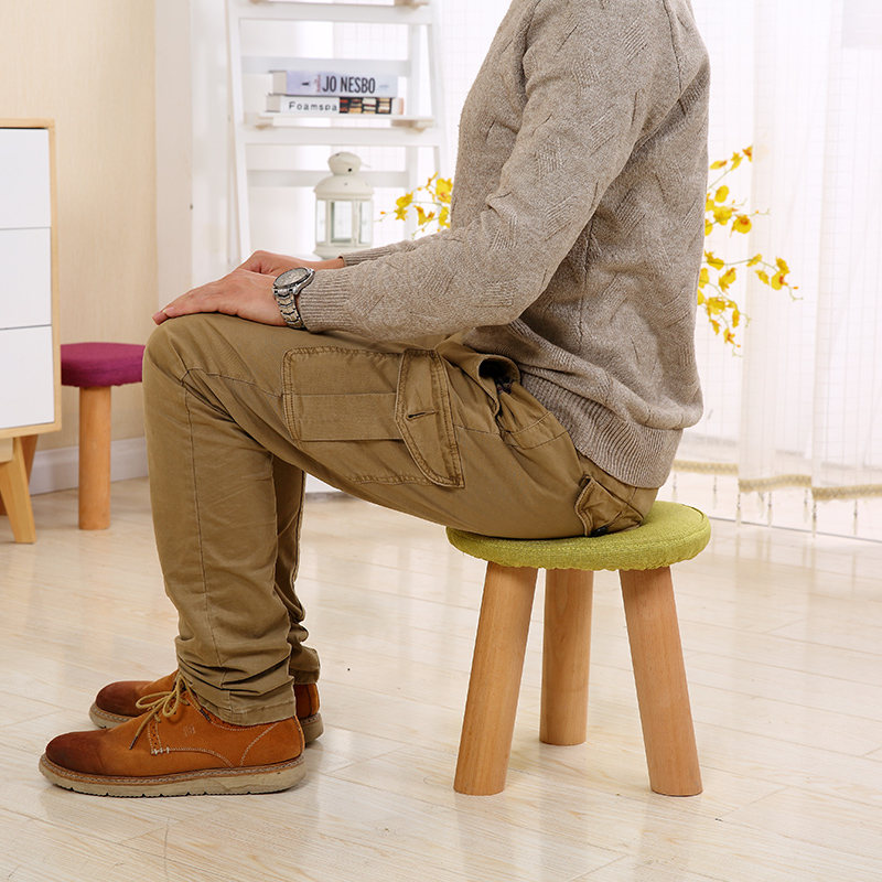 Modern Stool Solid Wooden Washable Fabric Stool Solid Fabric Linen Creative Children Small Chair Sofa Round Bench 28*28*29cm bluetooth walkie talkie intercom headset wireless bluetooth headset durable 20hz 20khz walkie talkie adapter for baofeng