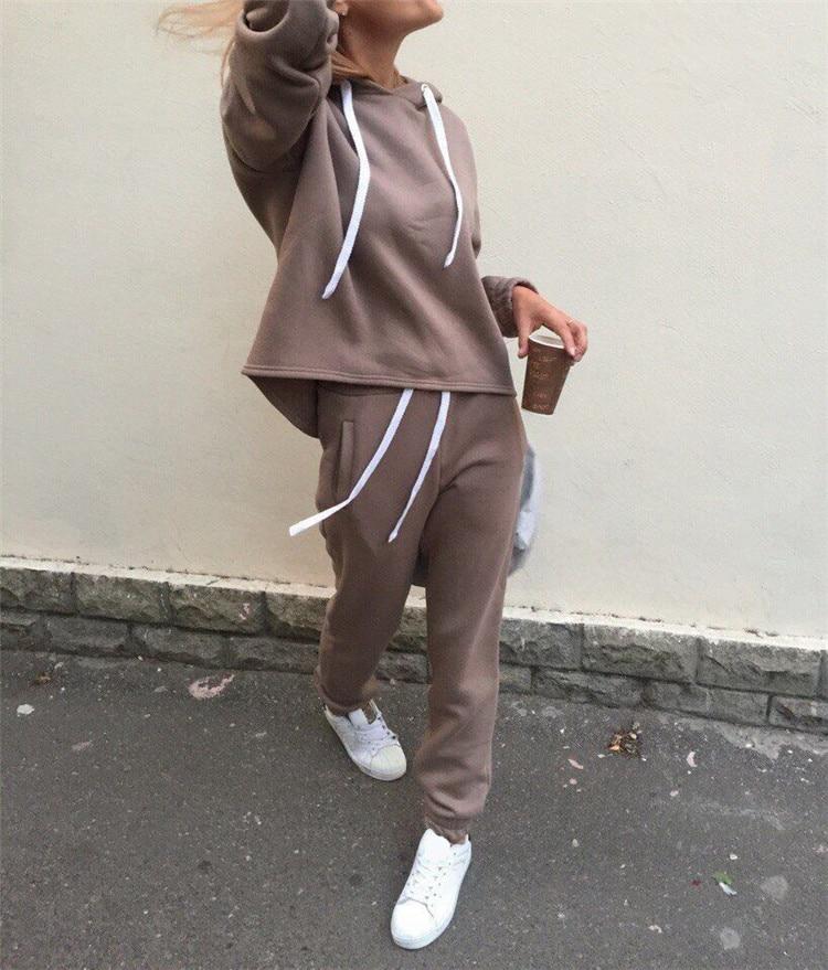 18 Autumn Tracksuit Long Sleeve Thicken Hooded Sweatshirts 2 Piece Set Casual Sport Suit Women Tracksuit Set 4