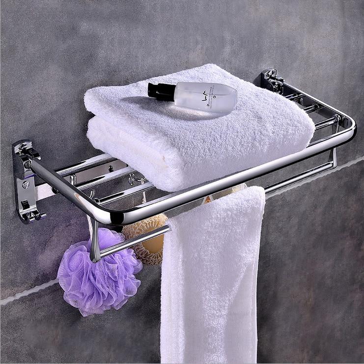 new bathroom towel rack hanging bar multifunctional bathroom hardware towel bar fordable 58cm. Black Bedroom Furniture Sets. Home Design Ideas