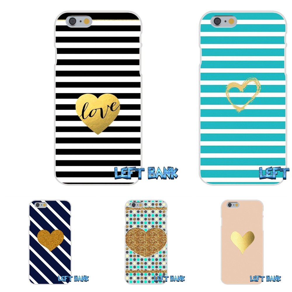 For iPhone 4 4S 5 5S 5C SE 6 6S 7 Plus Striped Golden Heart Glitter Soft Silicone TPU Transparent Cover Case
