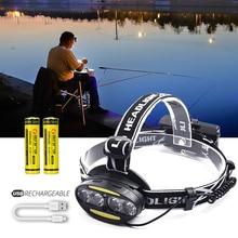 Flashlight 4*T6 2*COB LED Headlamp Headlight Rechargeable 18650 Sensor 50000lm USB Lantern For Hunting Fishing Camping Head Lamp