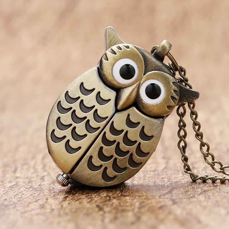 Bronze Copper Vintage Cute Mini Small Night Owl Quartz Pocket Watch Women Girl Lady Necklace Pendant Chain Birthday Gift P27