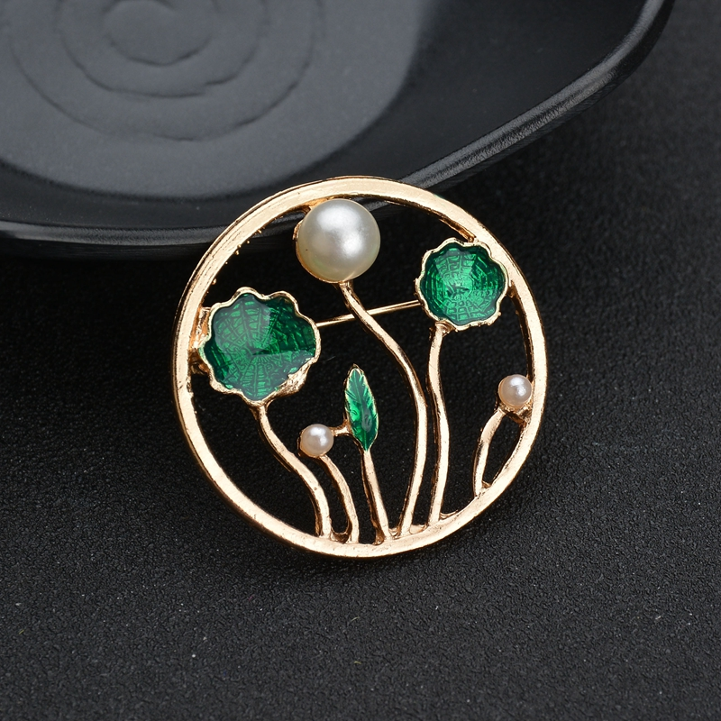 Terreau Kathy Lotus Leaf Brooches Pin for Women Dress Party Fashion Imitation Pearl Brooch Scarf Jewelry Clothes Accessories