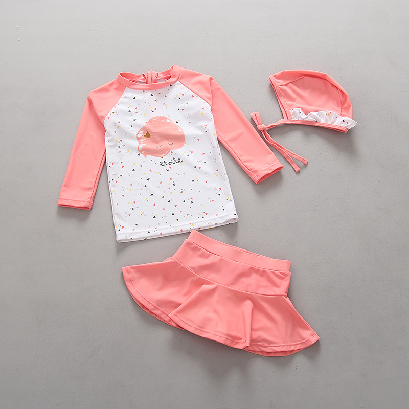 Export nach Korea Mädchen Bademode Kinder Badeanzug Zwei Stücke Langarm Rashguard + Rock Badehose + Schwimmen Kappe Baby mädchen Badeanzüge