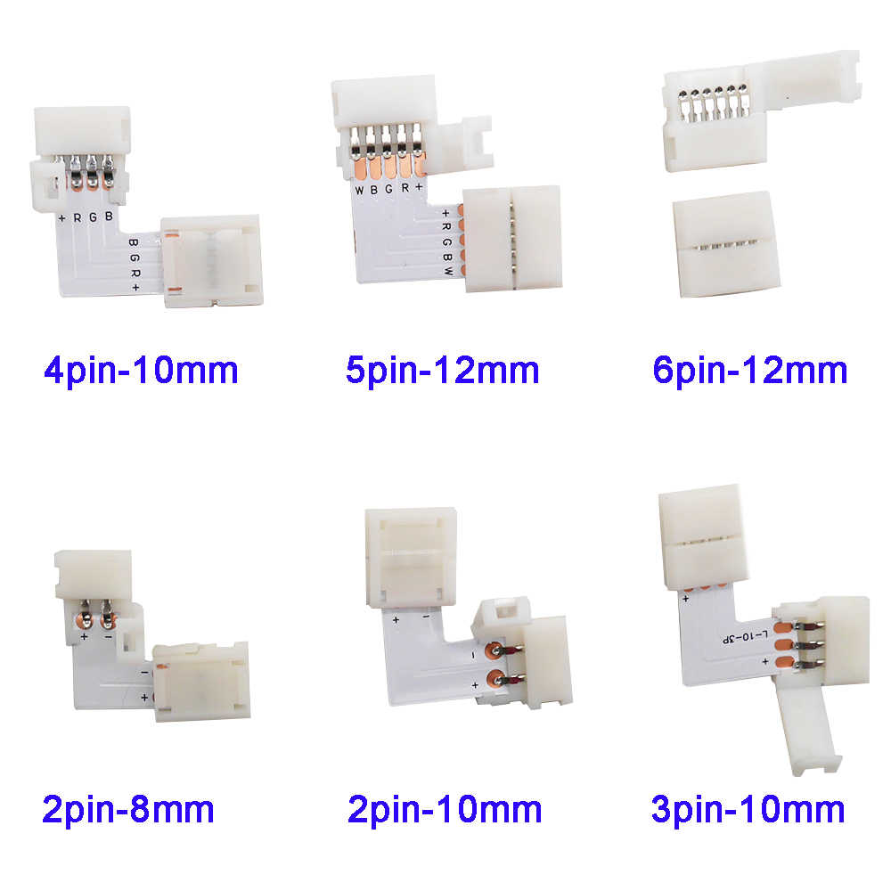 5 ~ 500set L forme 2pin 3pin 4pin 5pin 6pin LED connecteur pour connecter coin angle droit 5050 RGB RGBW 3528 ws2812 LED bande