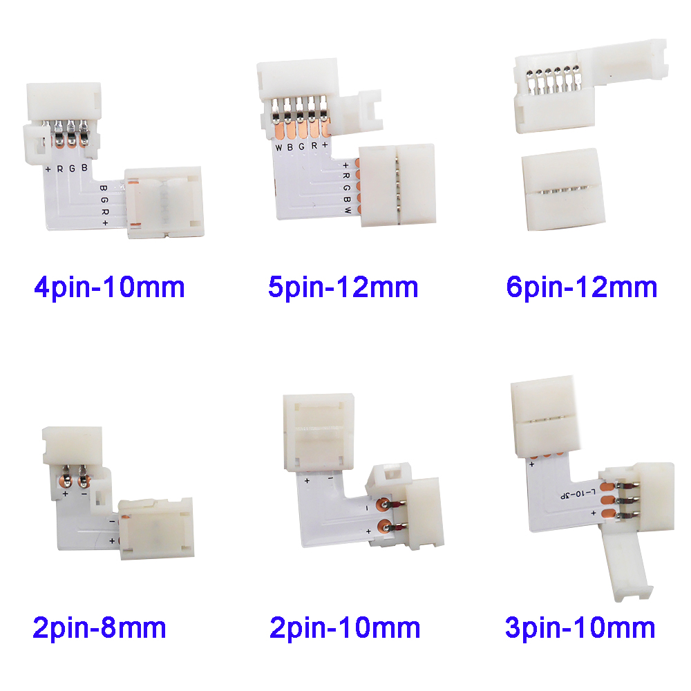 5~500set L Shape 2pin 3pin 4pin 5pin 6pin LED Connector For Connecting Corner Right Angle 5050 RGB RGBW 3528 Ws2812 LED Strip