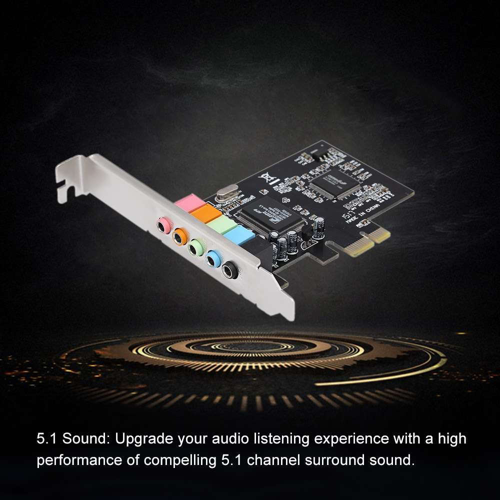 Allytech PCI Express Pci-e 5.1ch 6channels Digital Cmi8738 32-bit 3D Audio Sound Card SFF