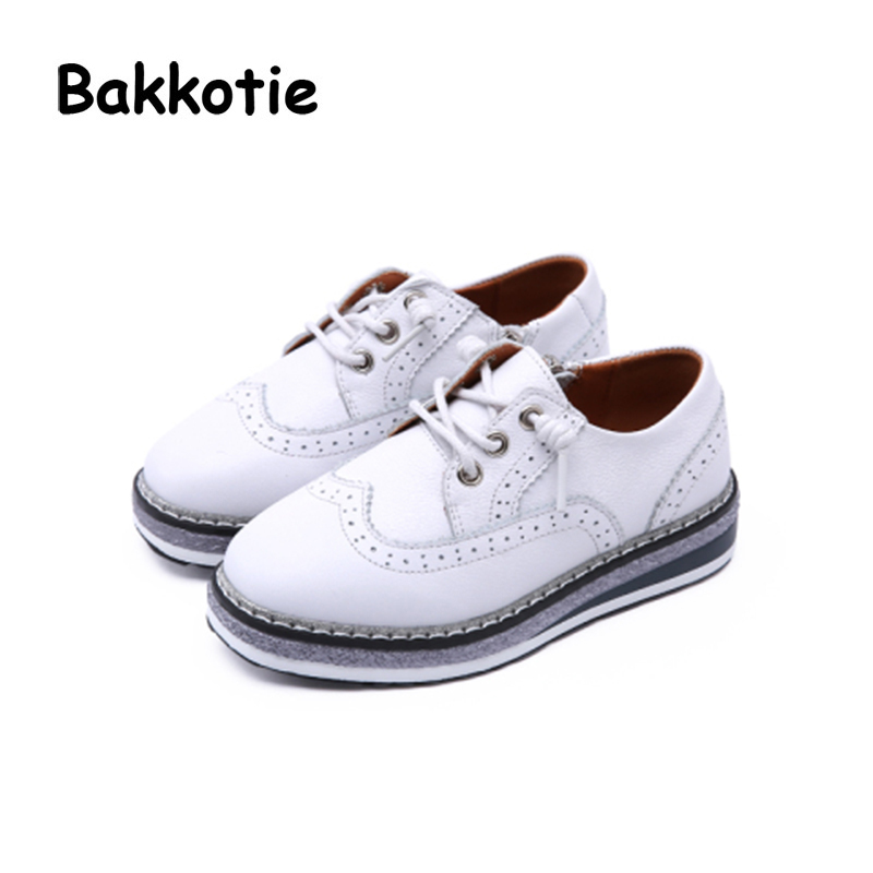 Bakkotie 2018 Spring Slip-on Cute Shoe for Children Fashion Genuine Leather Shoe Baby Girl Brand Casual Sneaker Platform Kid