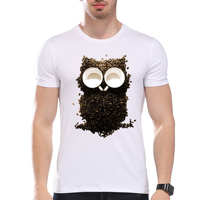 Coffee Beans Owl Bird Night Wild Animal Cute Funny Joke Men T Shirt Tee