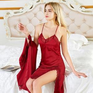 Image 2 - Fiklyc brand summer womens sleep & lounge lace & satin female pyjamas sets nighties sleepwear two pieces robe & gown sets NEW