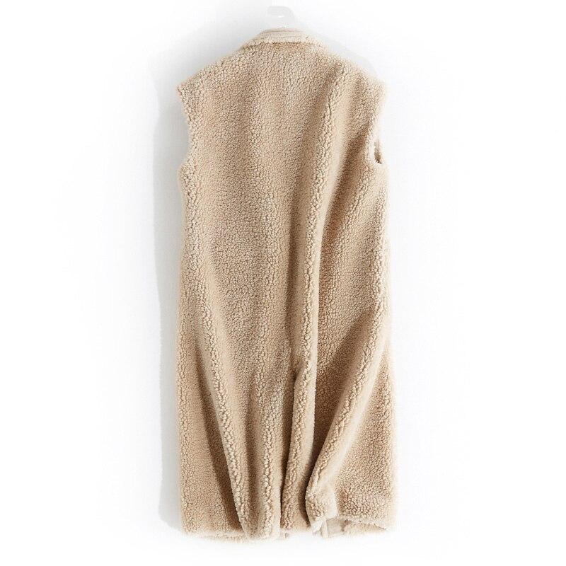 Moutons Gilet En De Tops Autmn Hiver Beige Femmes Veste Coréenne Peau Vintage Fourrure Mouton Manteau 100 Laine Femme Zt1638 Owqx17