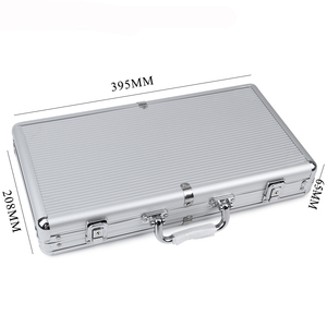 JULY'S SONG 300 Poker Chips Capacity Silver Stripe Aluminum Chips Box Non-slip Mat Portable Texas Playing Card Suitcase
