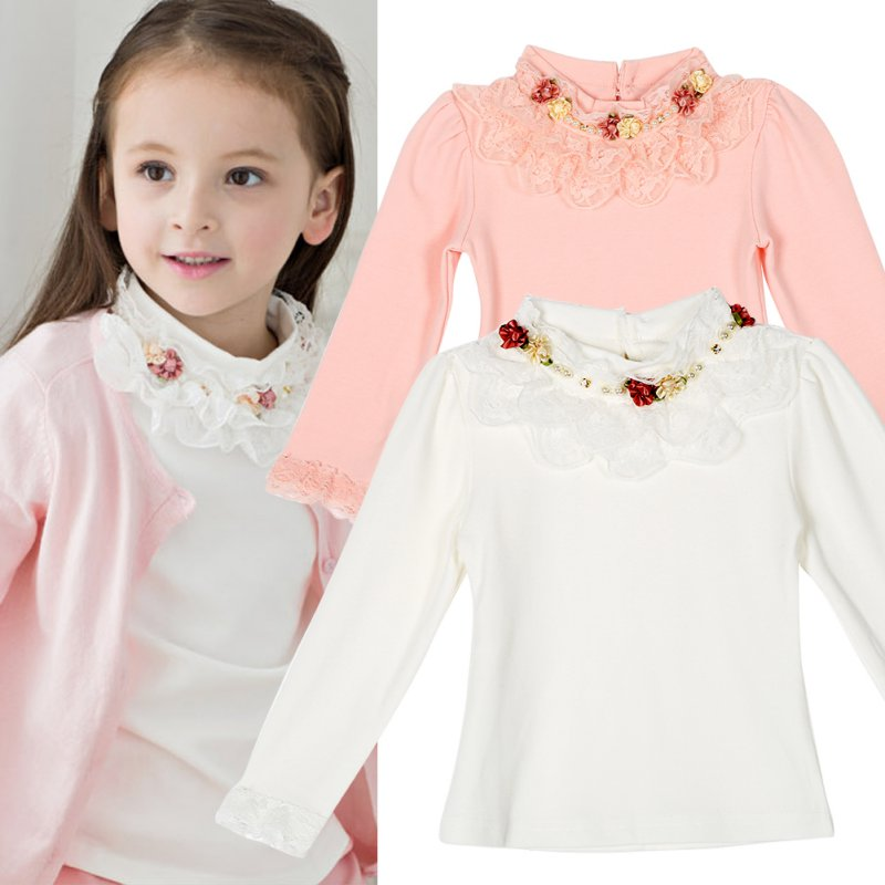 Cute Lace Children T-Shirt Autumn Spring Cotton Kid Render Shirt Baby Girls Clothing Soft Long Sleeve Tops 3-8Y