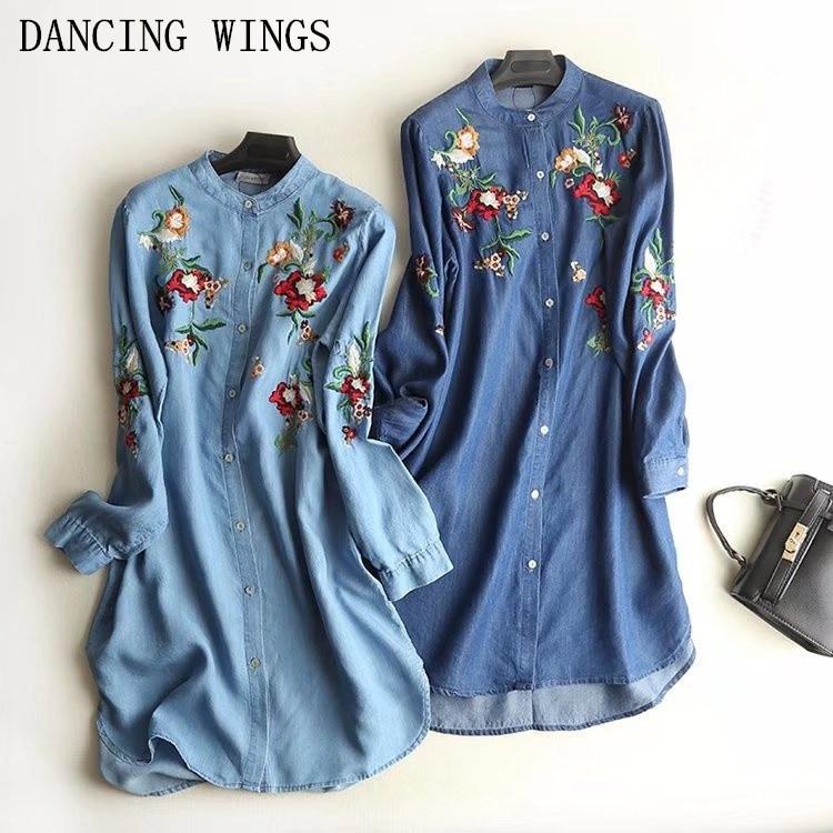 Европейский стиль, винтажное джинсовое платье с цветочной вышивкой, весенние повседневные свободные женские платья рубашки с длинным рука