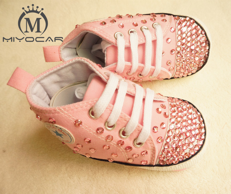 MIYOCAR Personalized Stunning pink rhinestone crystal Baby Girl sports shoes handmade Bling Diamond first Walker infant shoes
