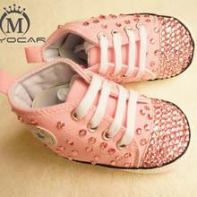 81a6559d7156 MIYOCAR Personalized Stunning pink rhinestone crystal Baby Girl sports shoes  handmade Bling Diamond first Walker infant