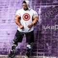 Capitão américa nova moletom com capuz t-shirt de algodão de manga curta de fitness ginásios clothing gymshark musculação sportwear com capuz t camisa