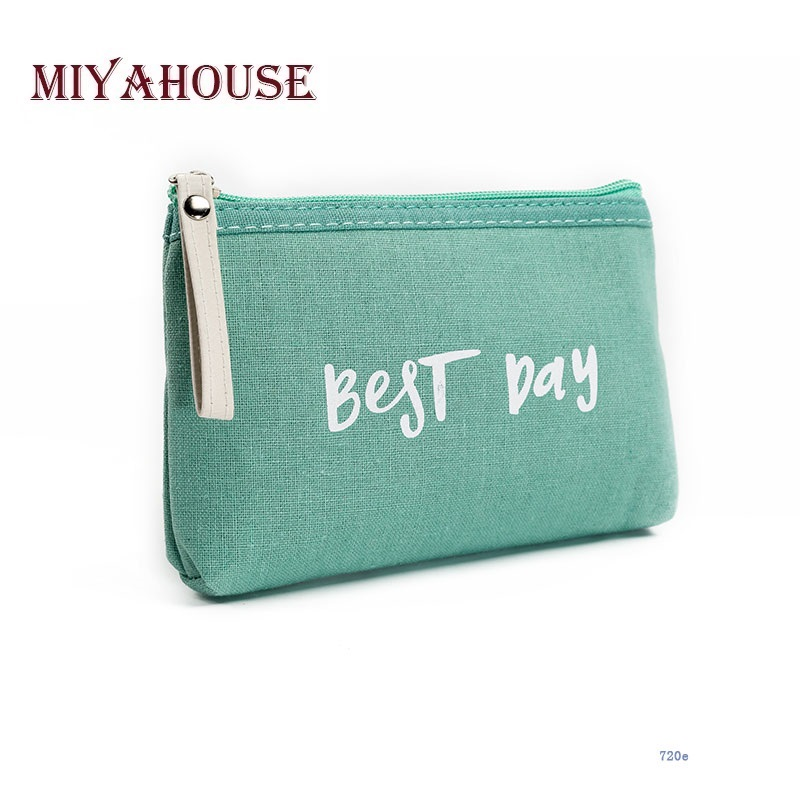 Miyahouse Cosmetic-Bag Canvas-Design Zipper Travel Small Mini Women Letter Hot-Sale Lady