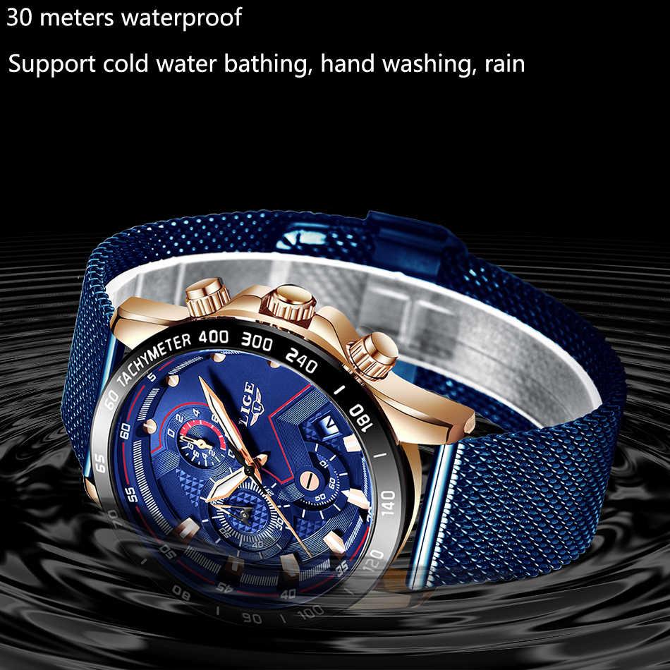 LIGE 2019 erkek saatler Top marka lüks su geçirmez moda izle quartz saat erkekler spor Chronograph reloj hombre dropshipping