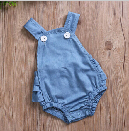 a858cf1189b1 Blue Denim Ruffle Baby Romper Newborn Infant Baby Girls Romper Sleeveless  Simple Cute Summer Baby Jumpsuit Clothes Outfits