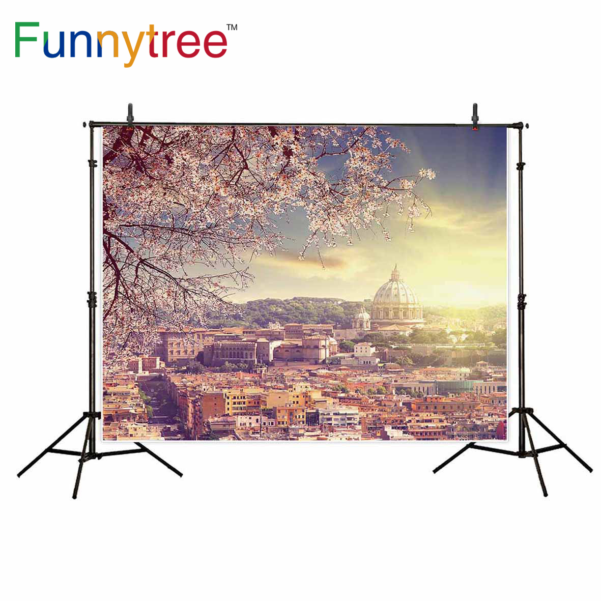 Funnytree photography backdrop spring Cherry blossoms ancient city building background photo studio photographic decor electrolux ehh 6340 fok