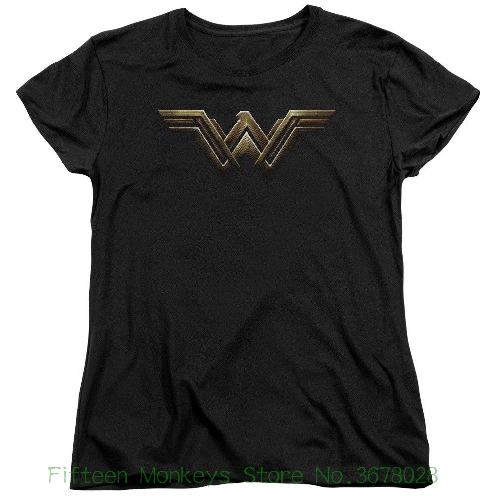 Womens Tee Authentic The Movie Wonder Woman W Wing Logo Ladies Women T-shirt Good Quality Pre - Cotton ...