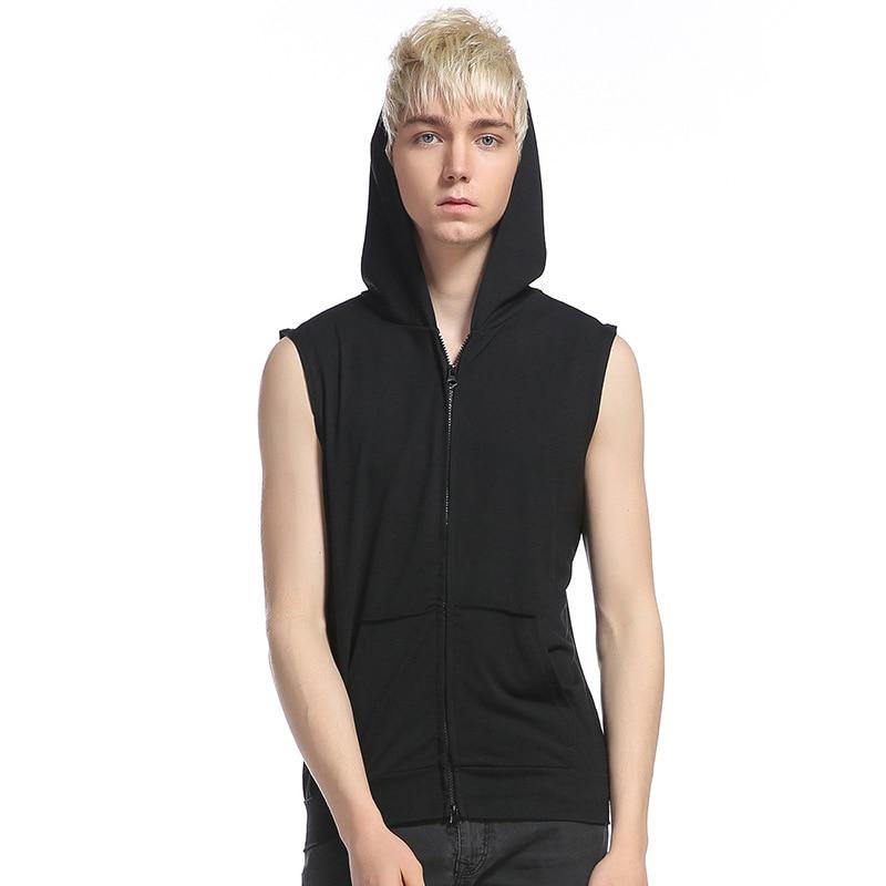 Summer sleeveless zipper hooded leisure vest men street short sleeve T-shirt is comfortable joker