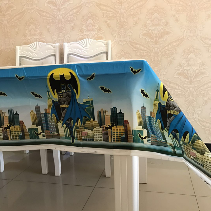 Batman Plastic Table Cloths And Banner Pennant Flags Baby Shower