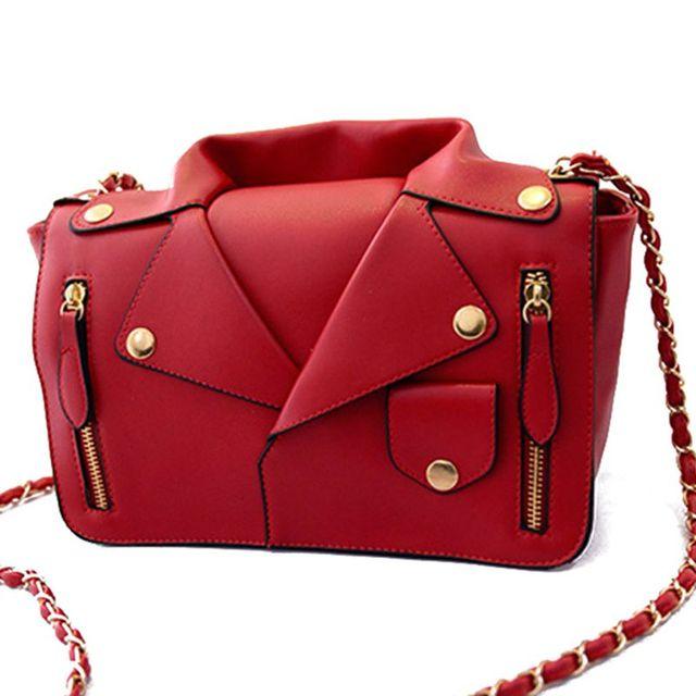 Bolsas de Bolsos de diseño de Alta Calidad de Las Mujeres de LA PU de la Chaqueta de Cuero Ropa de Las Mujeres de Hombro Messenger Bag Día Embrague Monedero bolsas S-1964