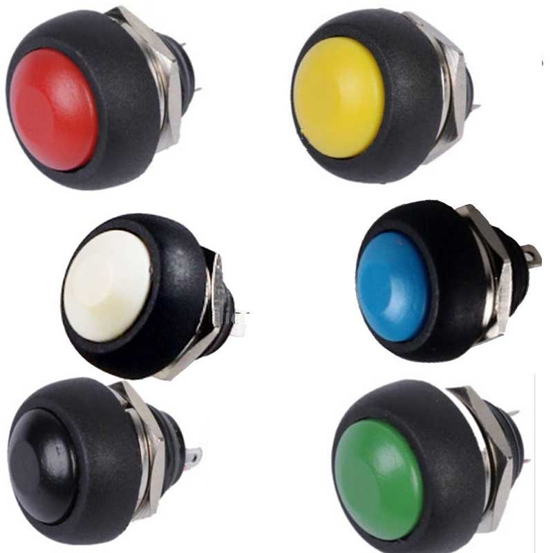 6Pcs/lot Waterproof 12mm Mini Round Momentary ON/OFF Push Button Toggle Switch 5pcs lot 3 colors new arrival mini lockless on off push button switch press the reset switch ve062 p0 4