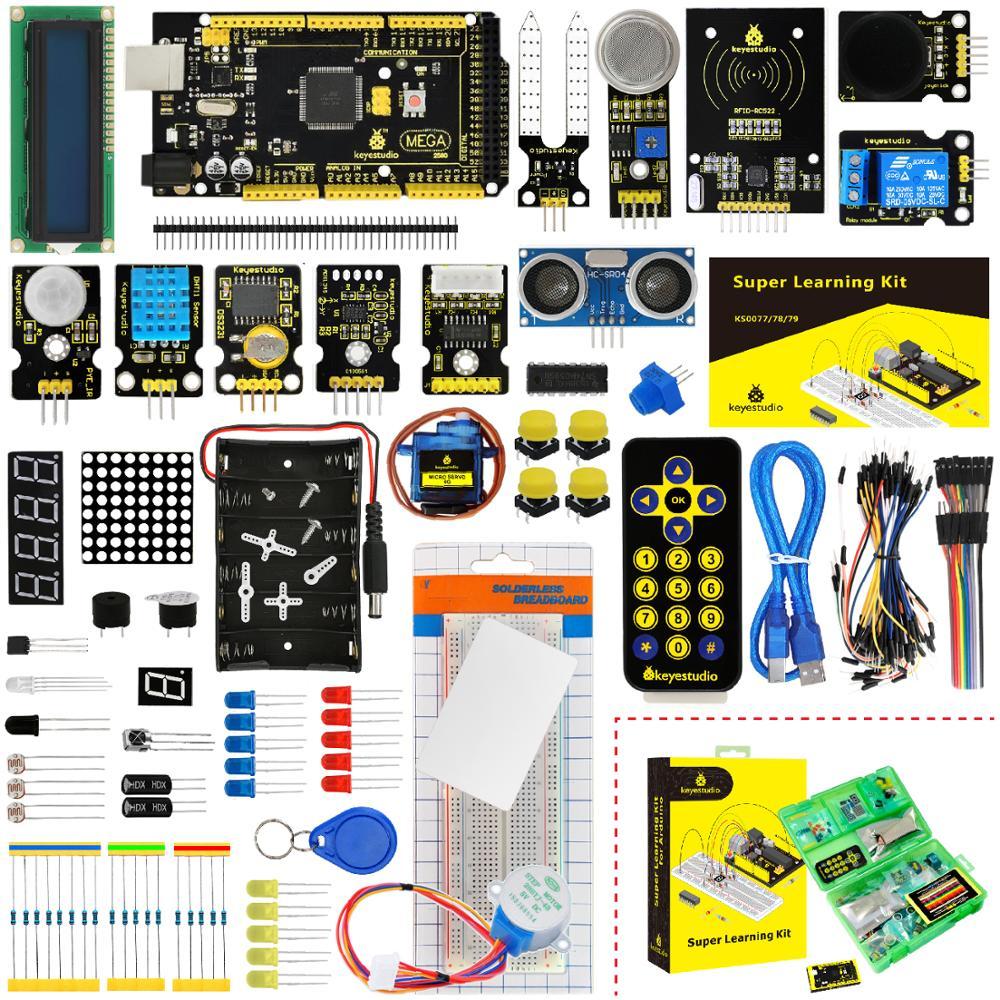 KS0079 Keyestudio Super Kit de démarrage/Kit d'apprentissage avec Mega2560R3 pour projet éducatif Arduino + PDF (en ligne) + 32 projets + coffret cadeau