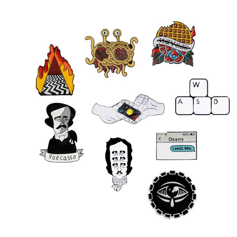 Брошь и булавка в форме вафель летающие спагетти Монстр Эдгар Аллан Poe клавиатура стрельба жест текстовое сообщение эмалевые значки на була...
